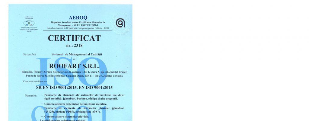 Certificat ISO RoofArt